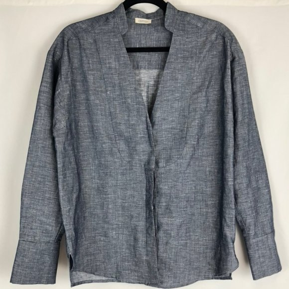 Crippen Linen/Cotton Long Sleeve V-Neck Shirt